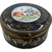 Black Porcelain Ormolu Trinket Box Courtship Scene Germany Early 1900s