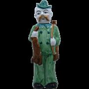 1930s Germany Porcelain Figural Decanter Hunter w/ Gun & Rabbit