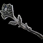 Vintage German Sterling Marcasite Long Stem Rose Pin