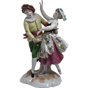 Antique German Porcelain Figurine Dancing Couple Swords Mark