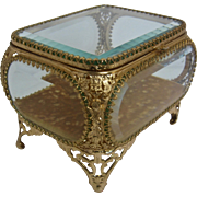 Mid 1900s Gilt Ormolu Beveled Glass Jewelry Box Casket