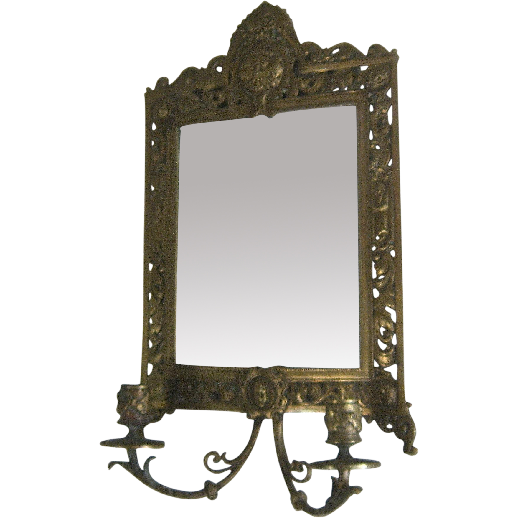 Late 1800s brass girandole wall mirror w candle holders for Mirror holders