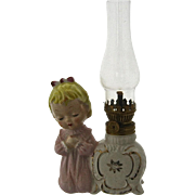 Porcelain Bisque Oil Lamp Little Girl Praying Ca 1950s