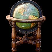 "1920s 8"" Terrestrial Globe Nystrom Johnston Wood & Cast Iron Base"