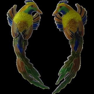 """Sterling Enamel Golden Pheasant Polychrome Earrings 2 3/4"""" Long"""