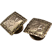 1882 14K Gold Cufflinks Sleeve Buttons Square Incised