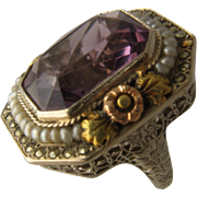 Art Deco 14K White Gold Amethyst Filigree Ring Seed Pearls Marcasites Sz 6.5