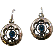Antique Gold Filled Blue Paste Drop Earrings
