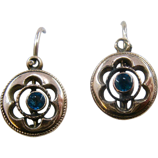 Antique Gold Filled Blue Paste Drop Earrings