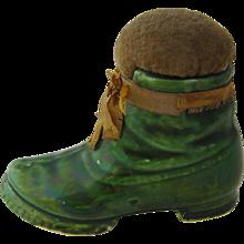 Victorian Ceramic Green Boot Pin Cushion Unusual