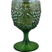 "Carnival Imperial ""Grapes"" Green Glass Goblet Early 1900s"
