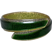 1920s Art Deco Celluloid Bracelet Armlet Translucent Green and Gold