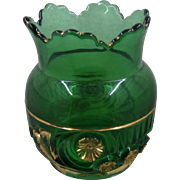 1896 Riverside Esther Emerald Glass Gold Spooner