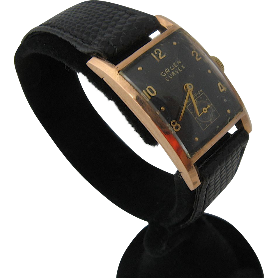 Gruen Curvex 14K Rose Gold Mens Watch Black Dial 1940s ...
