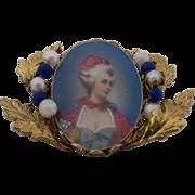1960s Italian HP Lady Portrait Miniature Pin Pearls Lapis