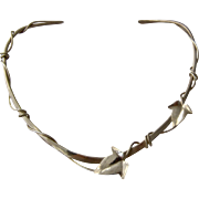 Hand Hammered Sterling Torque Collar Necklace Twining Leaves