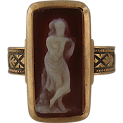 Victorian 14K Hardstone Cameo Ring Full Figure Muse Sz 5