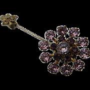 Large Miriam Haskell Purple Rhinestone Stickpin Lapel Pin