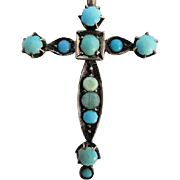 Late 1800s Victorian Sword Hilt Hatpin Turquoise in 800 Silver