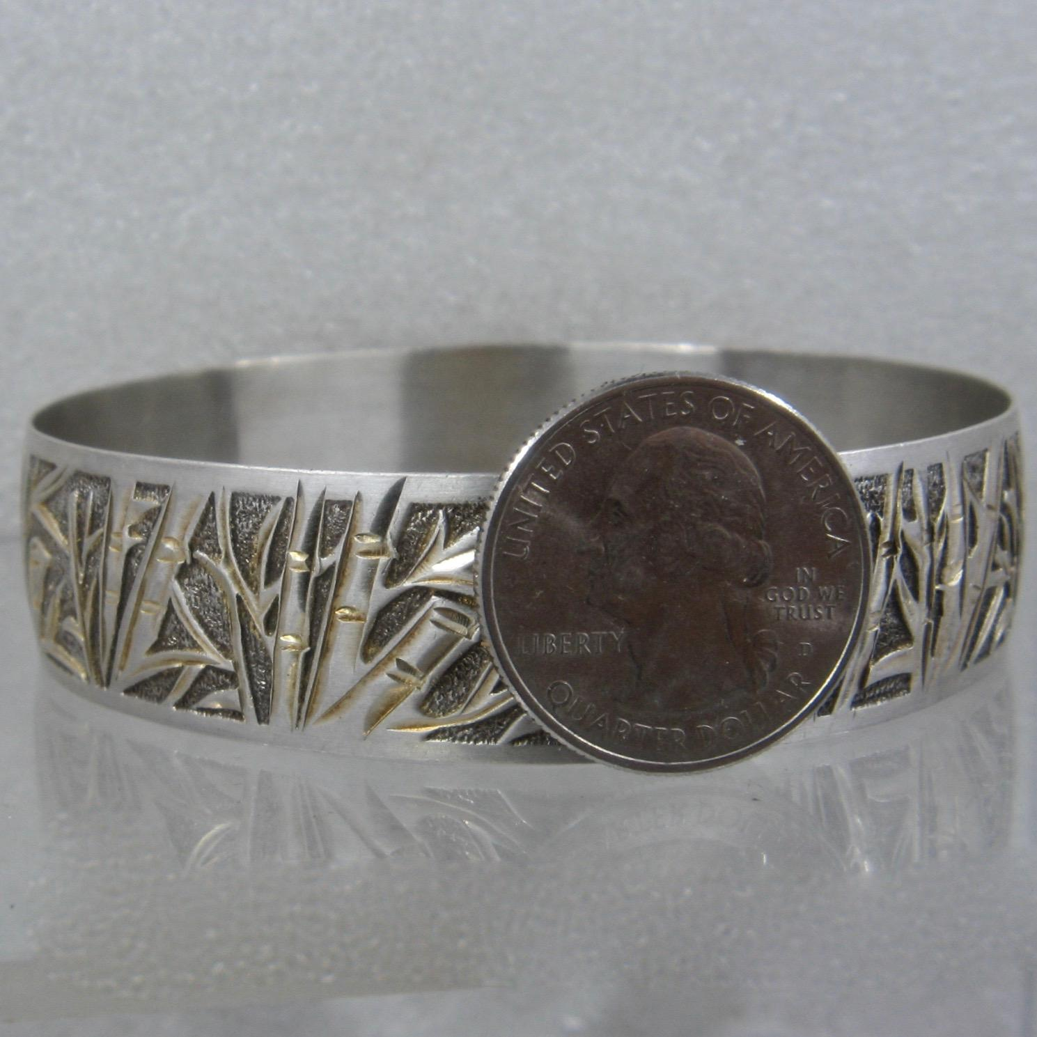 Hawaiian Sterling Heirloom Bamboo Bangle Bracelet Sz 9 1 2