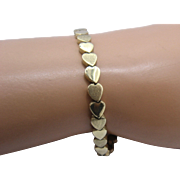 "14K Linked Hearts Bracelet Smooth & Textured Signed MG 6 7/8"""