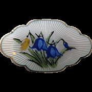 Mid 1900s  O F Hjortdahl Enamel Guilloche Sterling Bluebells Pin