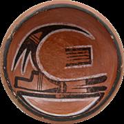 Ca 1930s Hopi Bowl Red Clay Polychrome Bird Design