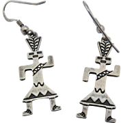 Hopi Indian Stamped Sterling Corn Dancer Earrings