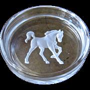 Hoya Etched Crystal Horse Trotting Intaglio Wine Bottle Coaster