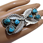 Magnificent Large Navajo Sterling Turquoise Ring Sz 9.5