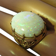 Large Precious Opal 14K Reticulated Gold Ring 13.5 Carats Sz 7 1/2
