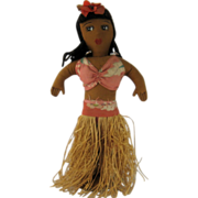 "1940s Hula Girl Doll w/ Grass Skirt Cloth Body 13"" High"