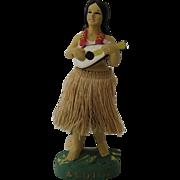 """1950s Hula Girl w/ Ukulele Nodder Aloha Base 7 1/4"""""""