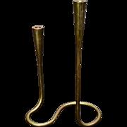 Mid Century Illums Bolighus Brass Serpentine Double Candlestick Denmark