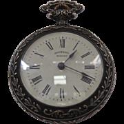 1906 Ingersoll Midget Pocket Watch Art Nouveau German Silver Case