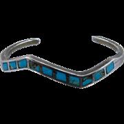 "Vintage Navajo Sterling Turquoise Inlay Zigzag Cuff Bracelet 5 3/4"""
