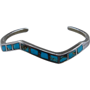Vintage Navajo Sterling Turquoise Inlay Zigzag Cuff Bracelet 5 3/4""
