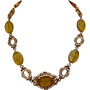 Czech Citrine Intaglio Glass Necklace w/ Fancy Gold Tone Links 16.5""