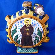 Italian Majolica Pilgrim Flask Hand Painted Pottery St Bruno