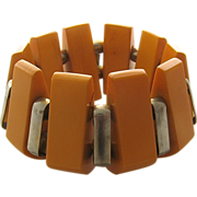 1930s Deco Butterscotch Bakelite & Chrome Bracelet Expandable