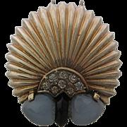 Marcel Boucher Sterling Fur Clip Moonstone Glass Phrygian Cap Mark