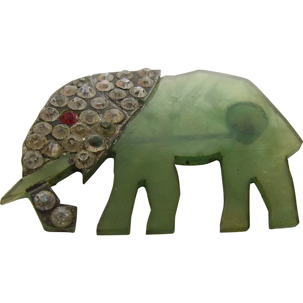 1930s art deco lucite elephant w rhinestones pin from. Black Bedroom Furniture Sets. Home Design Ideas