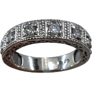 14K White Gold Eight Diamonds Fancy Band Ring 1 CTW Sz 9