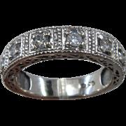 14K White Gold Eight Diamonds Fancy Band Ring 1 CTW Sz 9