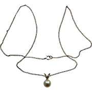 1940s 10K WG Pearl Diamonds Pendant Necklace in Original Box 15""