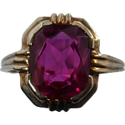 Ca 1940 10K Gold Synthetic Ruby Ring Sz 6 1/2