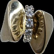 Glamorous 14K  Five CZs Ring Butterfly Shape Sz 8 1/4
