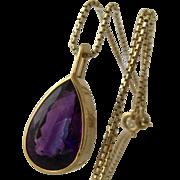 "14K Amethyst 9 Carat Necklace Uno-A-Ferre Box Chain 17"""