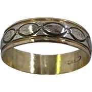 14K Yellow & White Gold Band Ring Incised Linked Ovals Sz 13