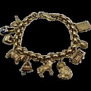 "Unoaerre 14K Charm Bracelet w/ 10 Charms Rolo Links 8""  37.4 Grams"